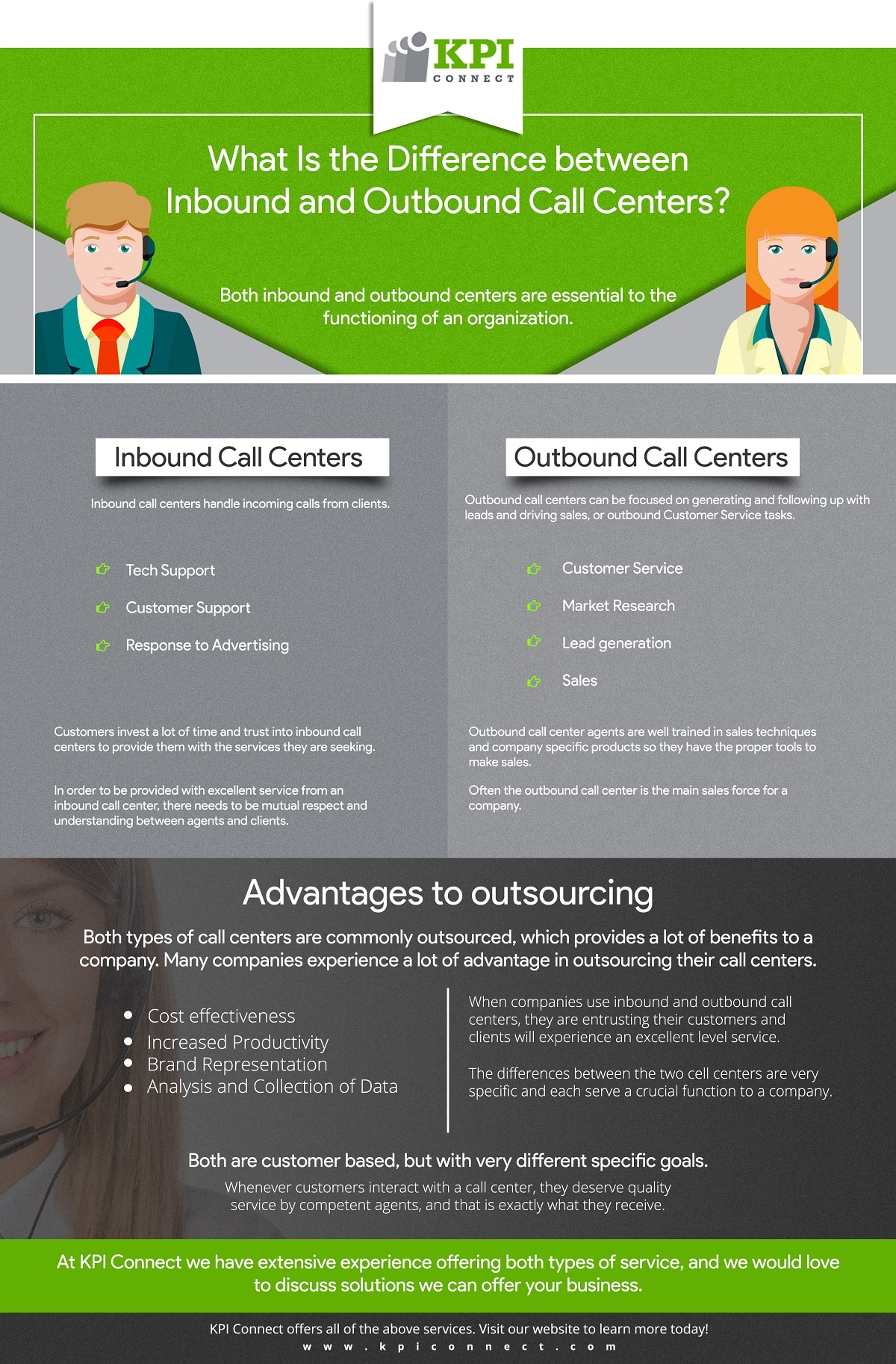 infographic discussing difference between outbound and inbound call centers