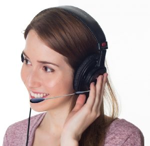 Call center agent speaking with customer.