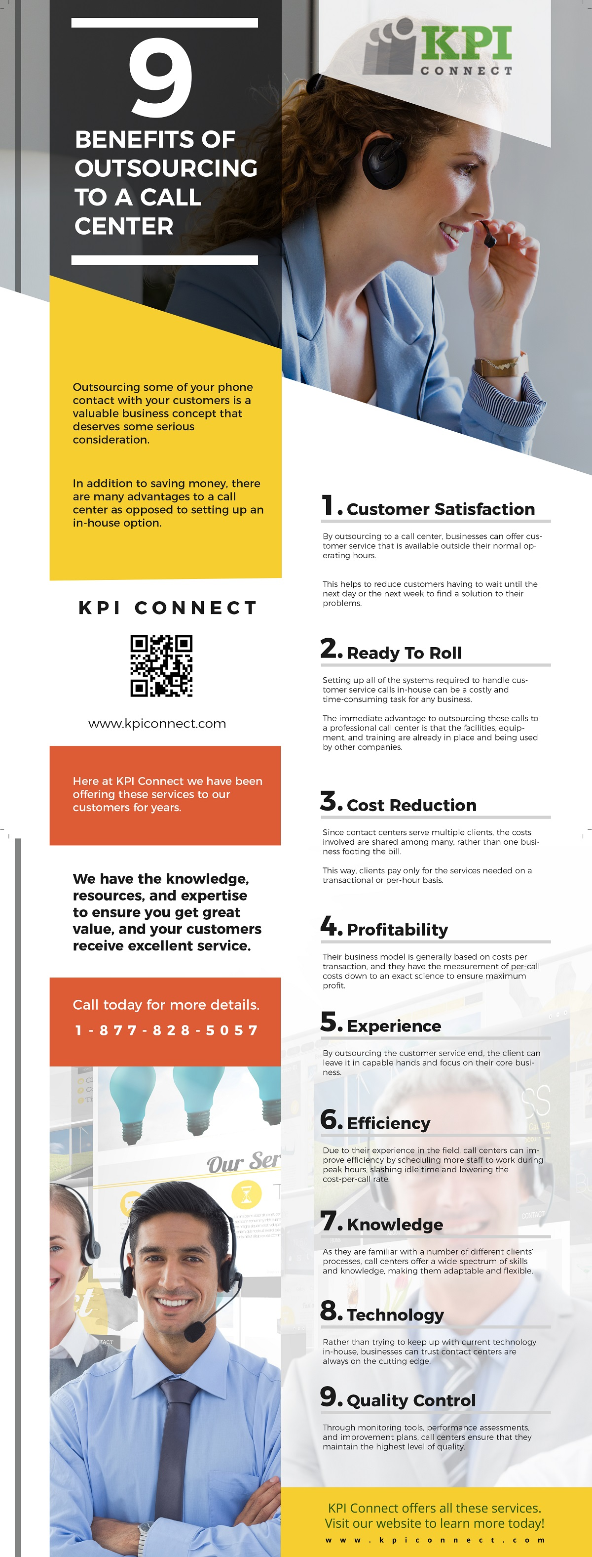 Infographic reviewing benefits of having another company help your customers over the phone.